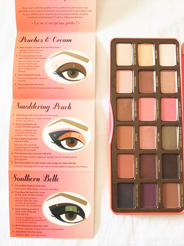 ombretti too faced palette sweet peach
